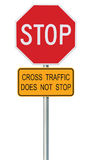 Red Stop Sign, Isolated Traffic Regulatory Warning Signage Octagon, Metal Post Stock Photography