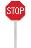 Red Stop Sign, Isolated Traffic Regulatory Warning Signage Octagon, White Octagonal Frame, Metallic Post, Large Detailed Vertical Royalty Free Stock Image