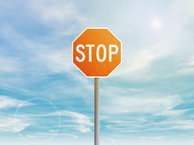 Red stop sign in the sky Stock Photography