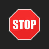 Red stop sign vector icon. Danger symbol vector illustration Stock Photography