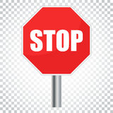 Red stop sign vector icon. Danger symbol vector illustration. Si Stock Photos