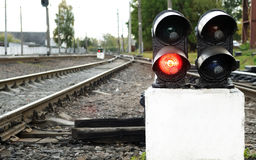 Red stop signal on a railway Royalty Free Stock Photo