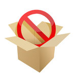 Red stop symbol in carton box illustration Stock Images