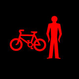 Red Stop Light for Pedestrians and Cyclists Stock Photo