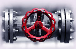 Red stop valve Stock Images