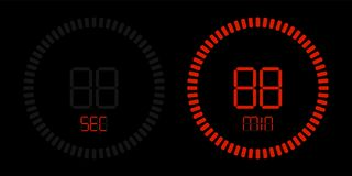 Red stopwatch countdown digital timer stock illustration