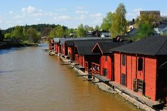 Red storage buildings in Porvoo Royalty Free Stock Photo
