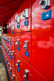 Red storage lockers at fair Royalty Free Stock Image