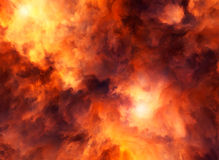Red Storm Raging. Illustrated roiling red and yellow clouds representing intense energy, massive explosion or fiery conflagration Royalty Free Stock Photography