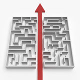 Red straight line through the maze Stock Photo