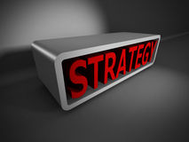 Red STRATEGY 3d word on dark background. Business concept Stock Photos