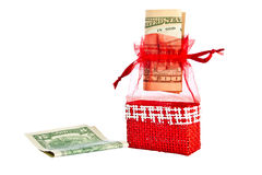 Red straw  decoration bag with money. Royalty Free Stock Photos