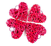 Red straw hearts. Isolated on white royalty free stock images