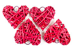 Red straw hearts Royalty Free Stock Image