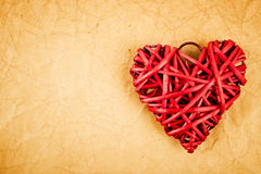 Red straw hearts on paper Royalty Free Stock Photo