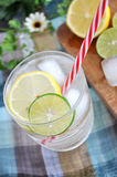 Red straw in lamonade drink Stock Photo