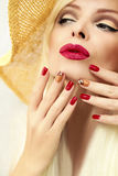 Red straw nail design. Stock Photography