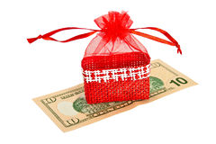 Red straw paper-bag with money. Royalty Free Stock Photo