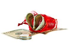 Red straw paper-bag with money in form heart Royalty Free Stock Photo