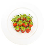 Red strawberries. Fresh red strawberries on dish Royalty Free Stock Photos