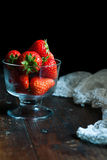 Red strawberries. Some fresh red strawberries in a glass bowl Stock Images
