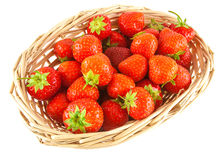 Red strawberries in basket Stock Image