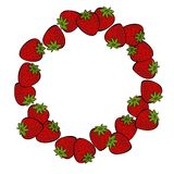 Red strawberries colorful fruit decorative wreath Stock Photo