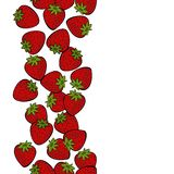 Red strawberries colorful fruit seamless vertical border Stock Image