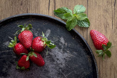 Red strawberries in different positions Royalty Free Stock Photos