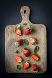 Red strawberries in different positions Royalty Free Stock Images