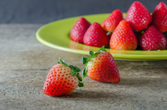 Red strawberries on dish Royalty Free Stock Image