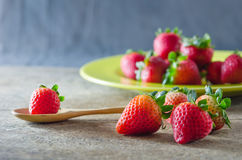Red strawberries on dish Stock Image
