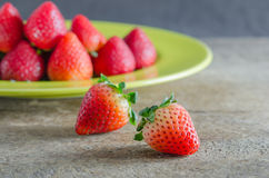 Red strawberries on dish Stock Photography