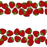 Red strawberries double horizontal border on white fruit illustration Royalty Free Stock Images