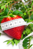 red strawberries,flower and measure tape Stock Photo