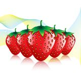 Red strawberries fruit contour abstract pattern on white background with colourful waves Royalty Free Stock Images