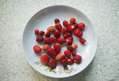 Red strawberries in a plate, on a beige table. Close-up Royalty Free Stock Images