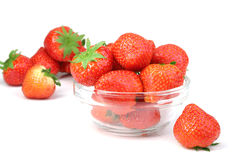 Red strawberries in transparent plate on white Royalty Free Stock Photography