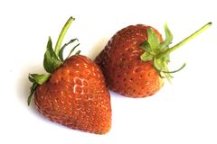 Red strawberries on   white background in thailand. Red strawberries on  white background in thailand Royalty Free Stock Image