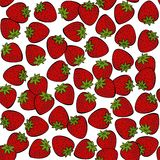 Red strawberries on white fruit seamless pattern Royalty Free Stock Image