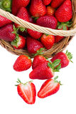 Red strawberry in basket Royalty Free Stock Images