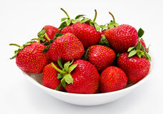 Red strawberry in the bowl closeup Stock Image