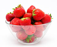 Red strawberry in the bowl isolated on white Royalty Free Stock Photography
