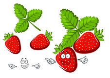 Red strawberry fruit cartoon character Royalty Free Stock Photography