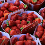 Red strawberry fruit for sale. Photo closeup full of clean organic natural fresh tasty ripe red garden strawberry fruit vitamin for healthy eating nutrition diet Stock Images