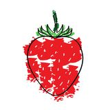 Red strawberry fruit vector. Fresh red strawberry fruit vector - green stalk - white background Stock Image