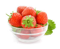 Red strawberry fruits in the glass vase Royalty Free Stock Photo