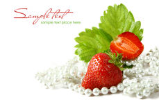 Red strawberry fruits with green leafs isolated on Stock Photo