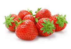 Red strawberry fruits isolated on white royalty free stock photos