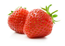 Red strawberry fruits isolated on white stock photo